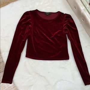 Burgundy Long Sleeve Velvet Top